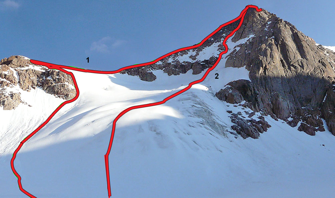 Nyainbo Yuze I from the northeast. (1) is the east ridge, while (2) is the north-northeast face climbed in 2011.