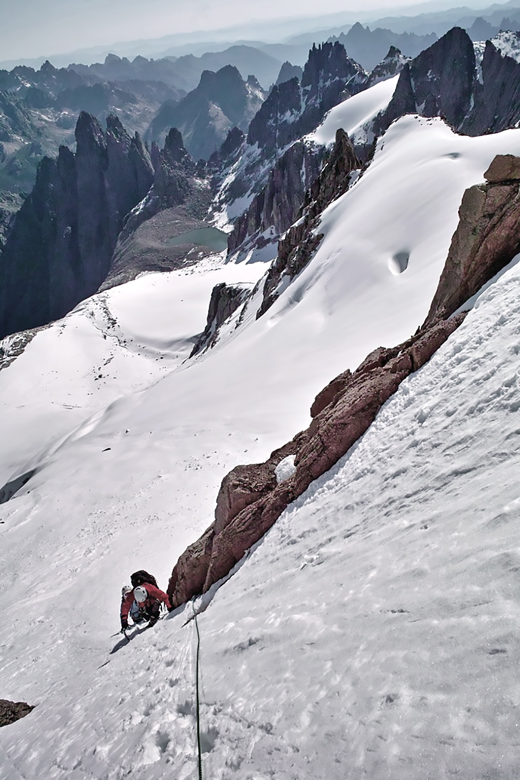 Climbing on the north-northeast face of Nyainbo Yuze in 2011.