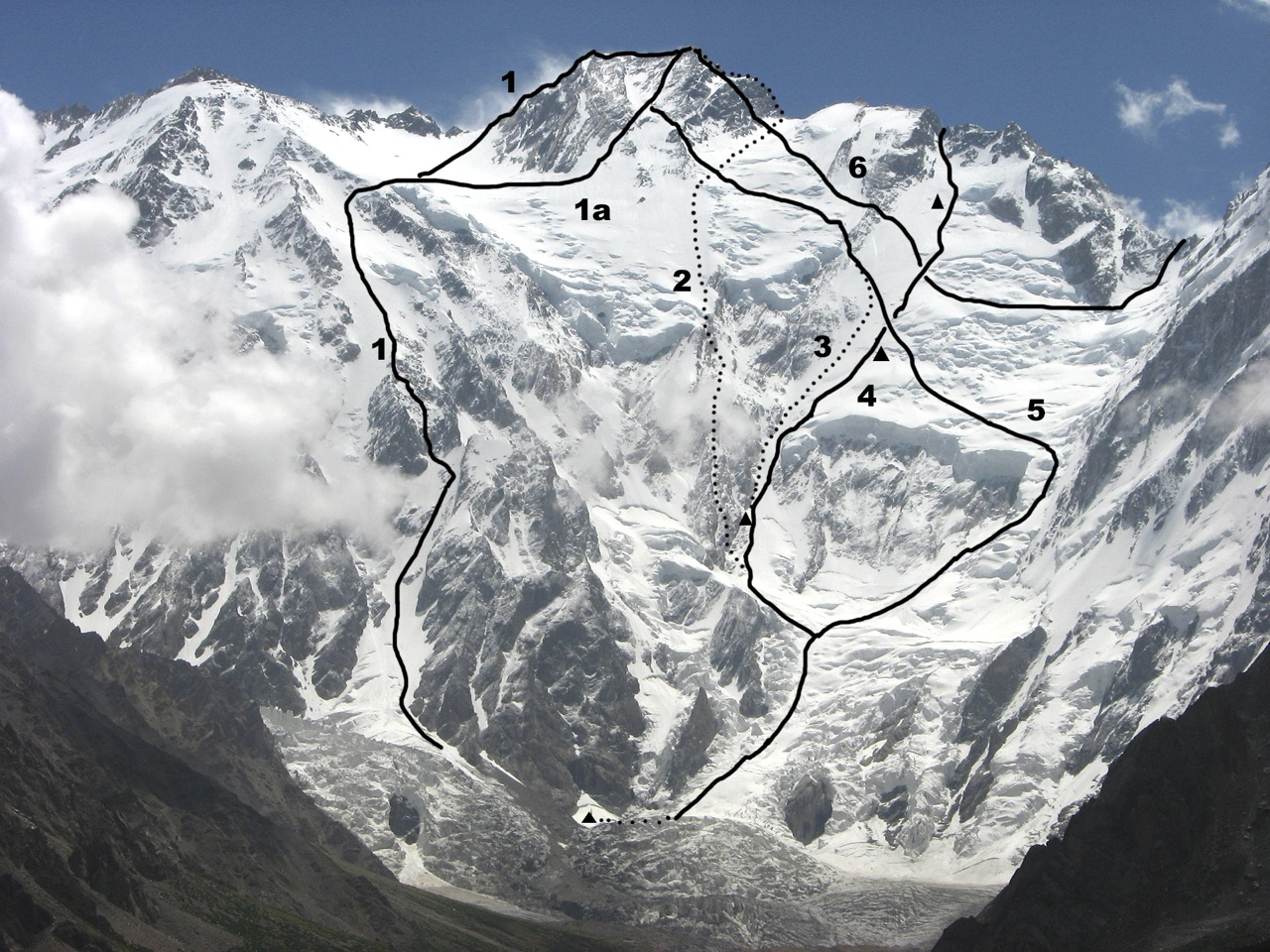 Diamir Face of Nanga Parbat. (1) Kinshofer Route (1962, original line). (1a) Line generally followed today. (2) Messner brothers 1970 descent route via Mummery Rib. (3) Messner 1978 descent route. (4) Slovenian 2011 ascent to upper southwest ridge. Bivouac sites marked. (5) Messner 1978 ascent route. (6) Upper section of 1976 Schell route (climbs Rupal Flank to Mazeno Col). There have been several variants to Schell route, e.g. in 1981 by Ronald Naar, who followed a higher traverse line to reach snowy section of ridge up and left from Slovenian high point.