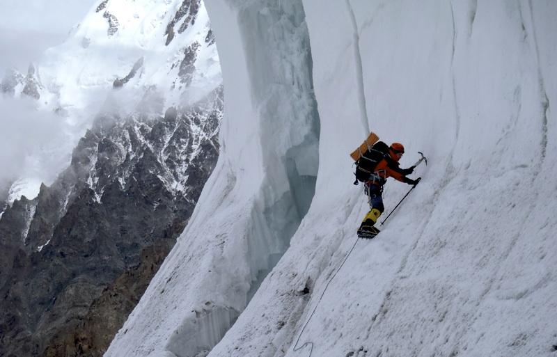 Mojac Svajger in lower seracs, before reaching 5,400m plateau below Messner Couloir.