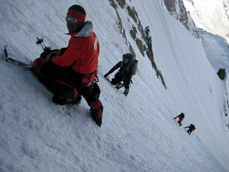 Climbing the initial 900m couloir.