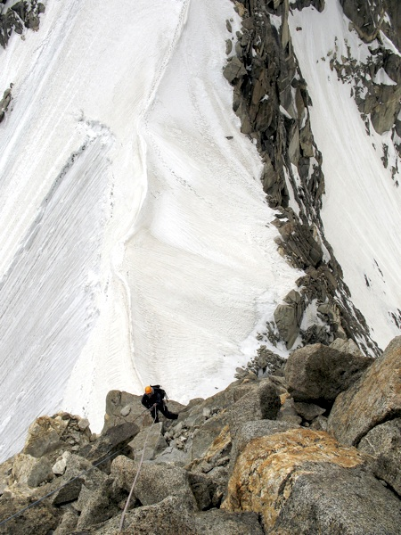 Kawecki on first section of southeast ridge above south col. Note rock quality.