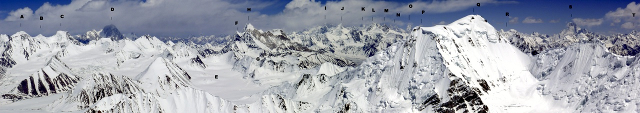 Identification of distant peaks is an inexact science. This wonderful panorama from northeast to southeast across the Central Karakoram was taken from the 6,220m summit of Braldu Brakk. (A) Peak 6,360m. (B) Peak 6,350m. (C) Peak 6,440m. (D) Crown (7,295m). (E) Upper (Southeast) Braldu Glacier. (F) Peak 6,410m. (G) Nobande Sobande Group. (H) Skamri Peaks (6,763m). (I) K2 (8,611m). (J) Changtok (7,045m). (K) Broad Peak (8,051m). (L) Chiring (Karpo Go, 7,090m). (M) Chiring West (ca 7,000m). (N) Gasherbrums IV (7,925m) and I (8,068m). (O) Muztagh Tower (7,284m). (P) Bobisghir North (ca 6,300m). (Q) Bobisghir (6,416m). (R) Ghent (7,401m). (S) Masherbrum (7,821m). (T) K6 (7,282m).