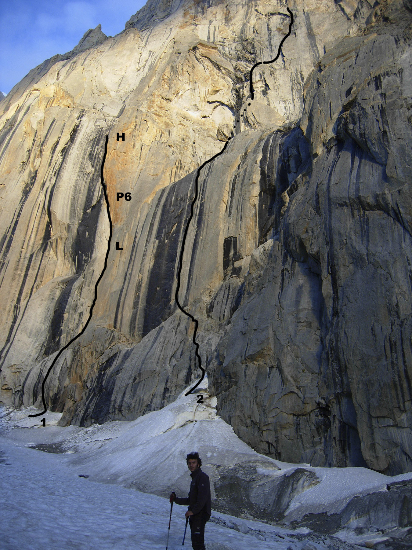 Angelozzi stands below the lower southwest pillar of K7 West. (1) Italian attempt with (L) the site of the portaledge hit by rockfall, (P6) the hard off-width on pitch six, and (H) the high point. (2) the approximate line of Badal.