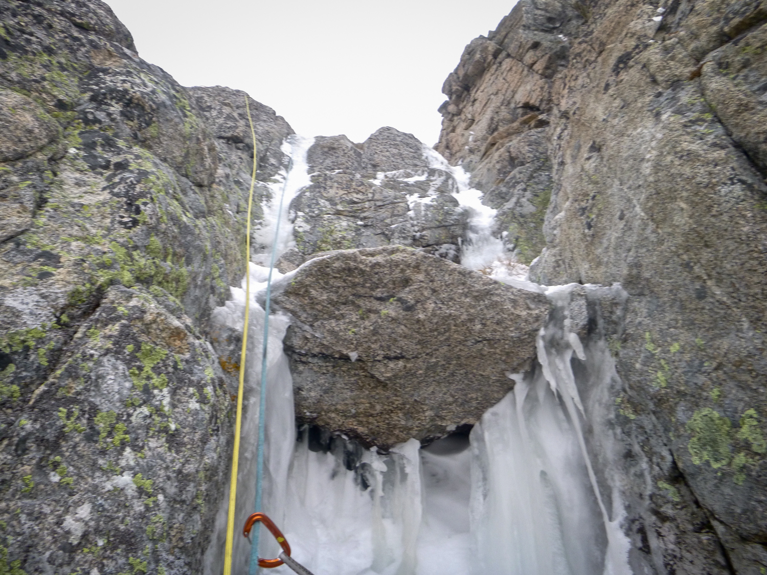 Part way up the icy corners on the first pitch of Stalker.