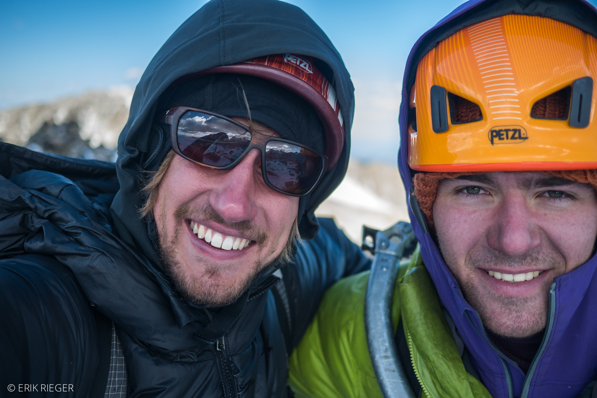 Erik Rieger (left) and JD Merritt (right) atop Peak 12,878 after making the first ascent of Stalker.