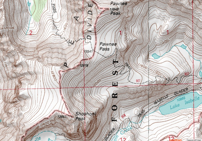An overview of Shoshoni Peak and Peak 12,878'.