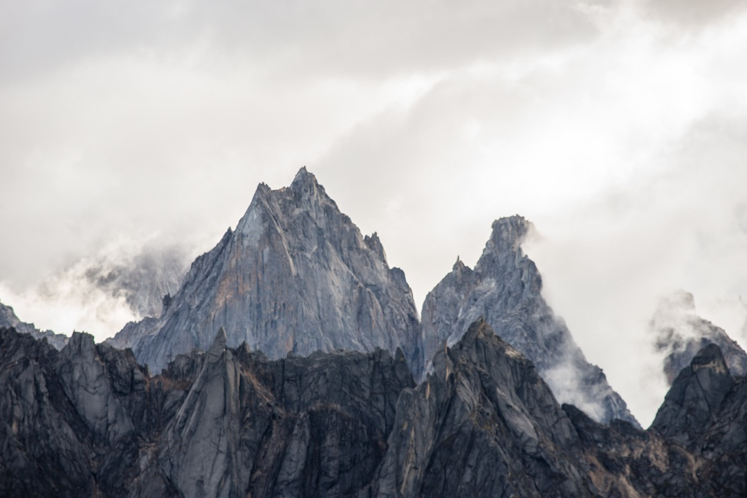 Unclimbed granite needles to the north.