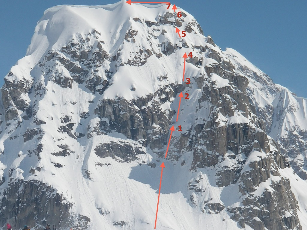 The west face of Radio Control Tower showing the previously unreported route Spindrift Couloir (1,000', AI3 M5). The new route It's Included climbs the buttress just to the right.