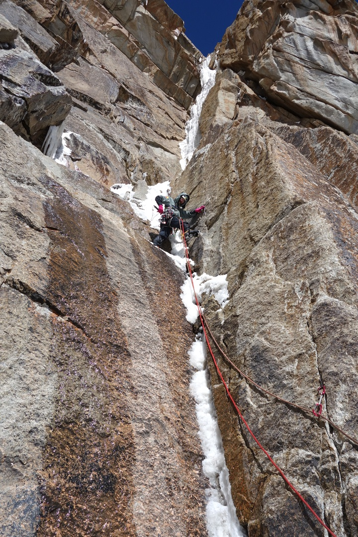 Sergey Nilov in the narrow icefall on pitch three of War and Peace.