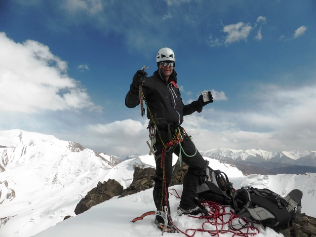 The author on the summit of Veronique and Anna (5,200m).