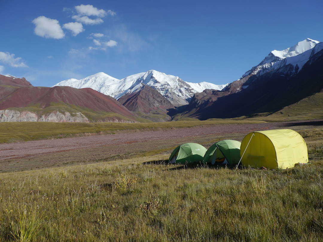 Base camp near the mouth of the Kicheskuu valley. Behind, in center, is Peak 5,395m, the first summit attempted in 2014.