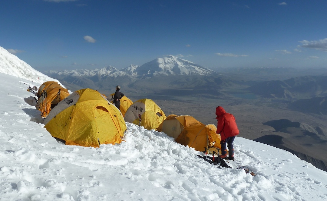 Camp 2 on the south ridge of Kokodak Dome with Muztagh Ata behind.