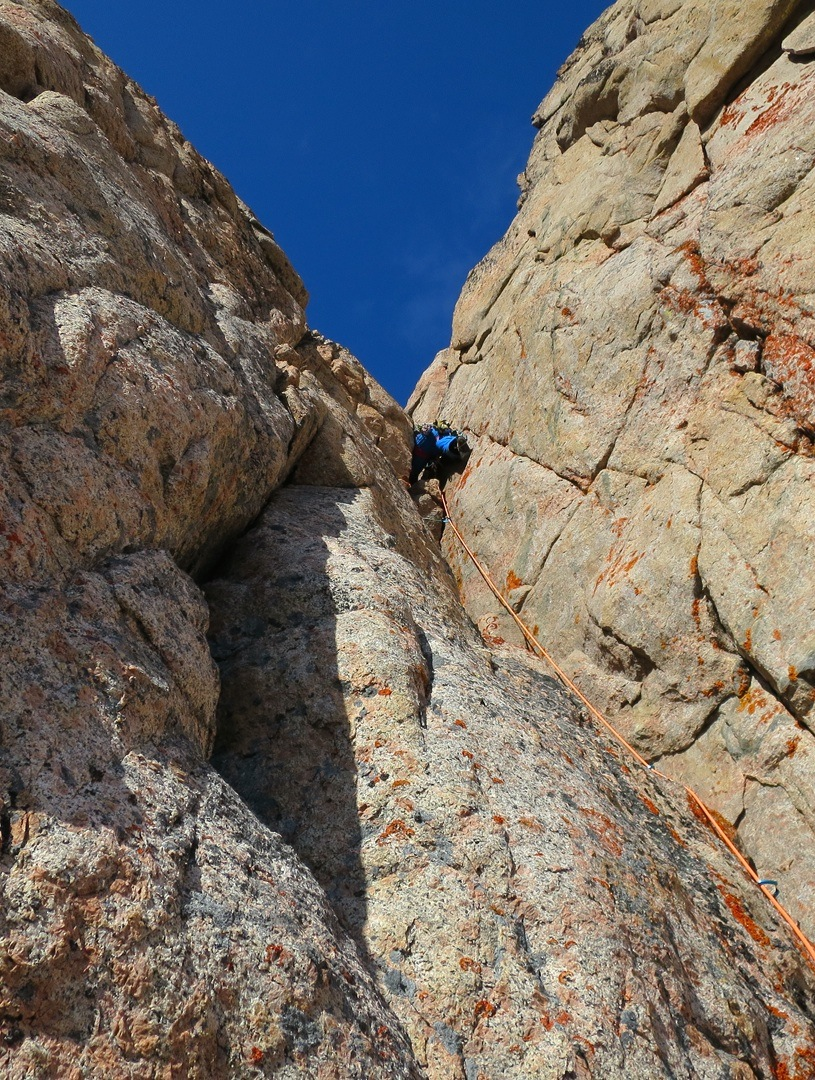 Harald Fichtinger climbs a diedre on the southwest face of Kirken.