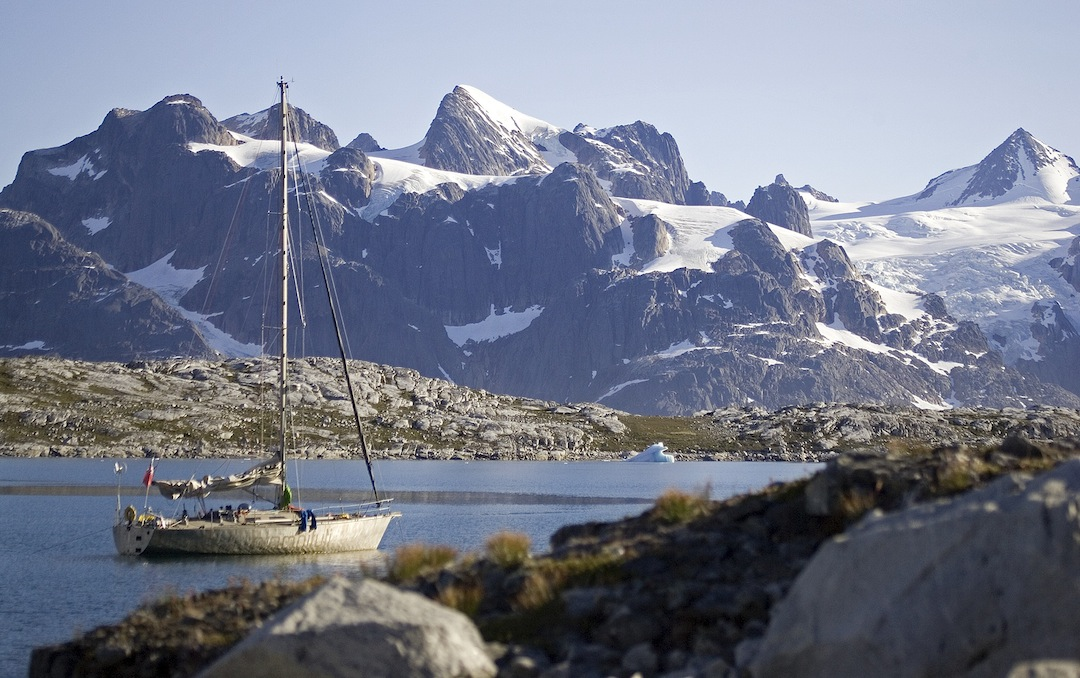 The view across Kangerdluluk Fjord to the little-known, unclimbed summits of Graah's Fjeld.