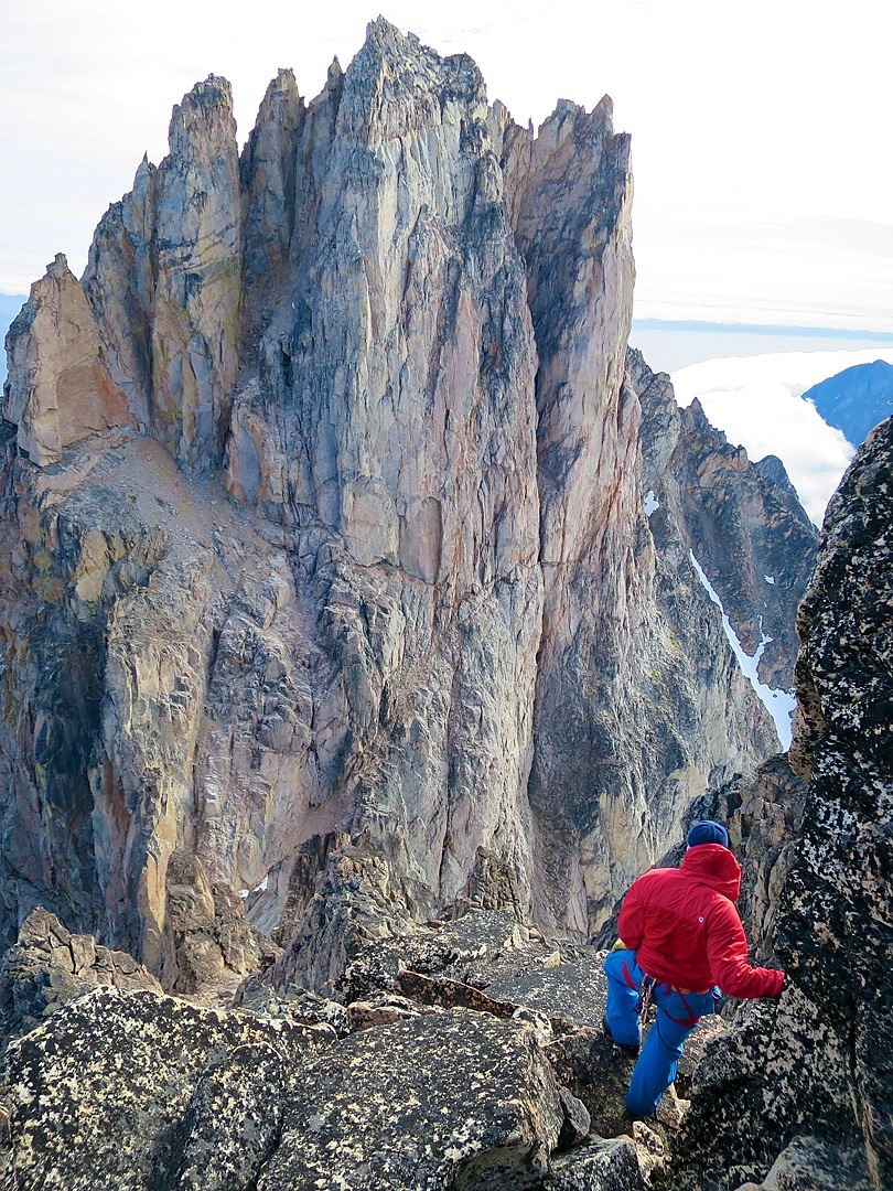 Harald Fichtinger views the pinnacled lower top of Kirken.