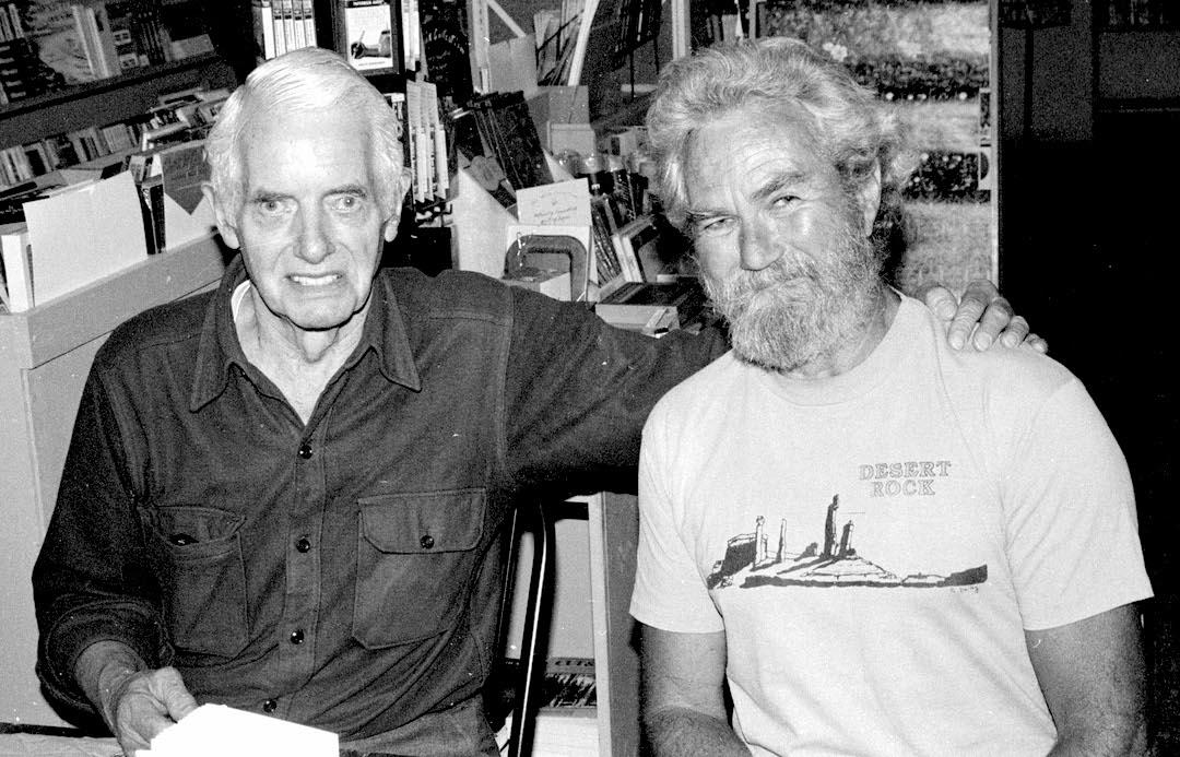 David Brower (left) and Eric Bjørnstad in 1991.