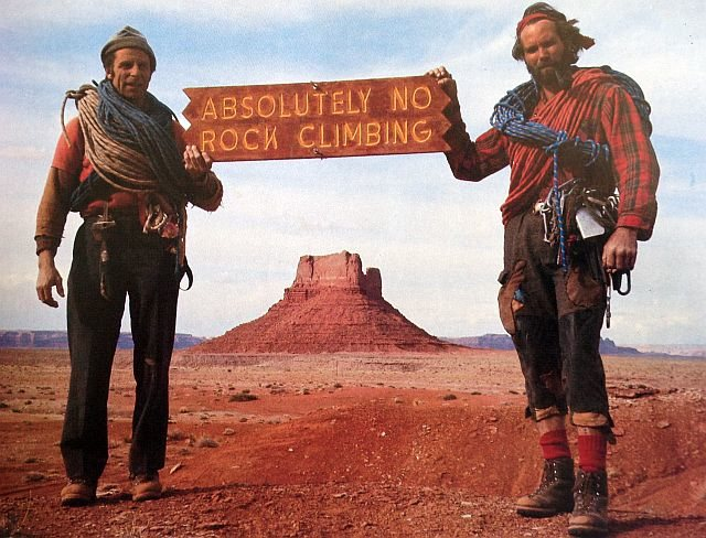 Fred Beckey (left) and Eric Bjørnstad in Monument Valley.