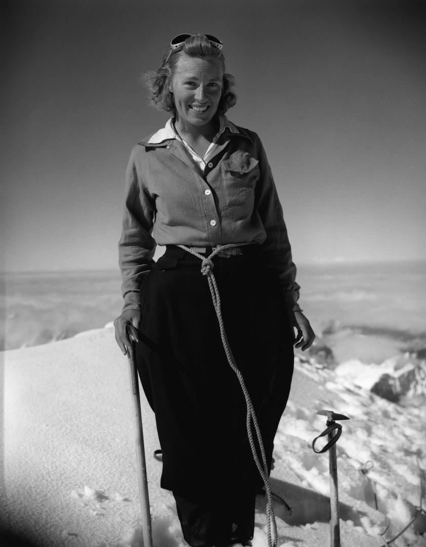 Barbara Washburn on the summit of Mt. Bertha in Alaska in 1940.