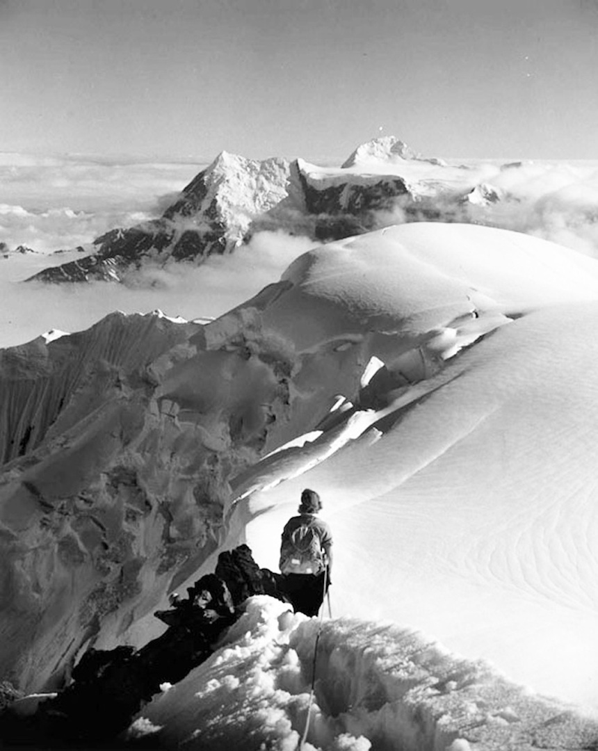 Barbara Washburn descending Mt. Bertha after the first ascent in 1940.