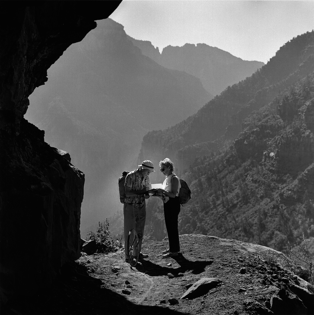 Bradford and Barbara Washburn mapping the North Kaibab Trail in the Grand Canyon.