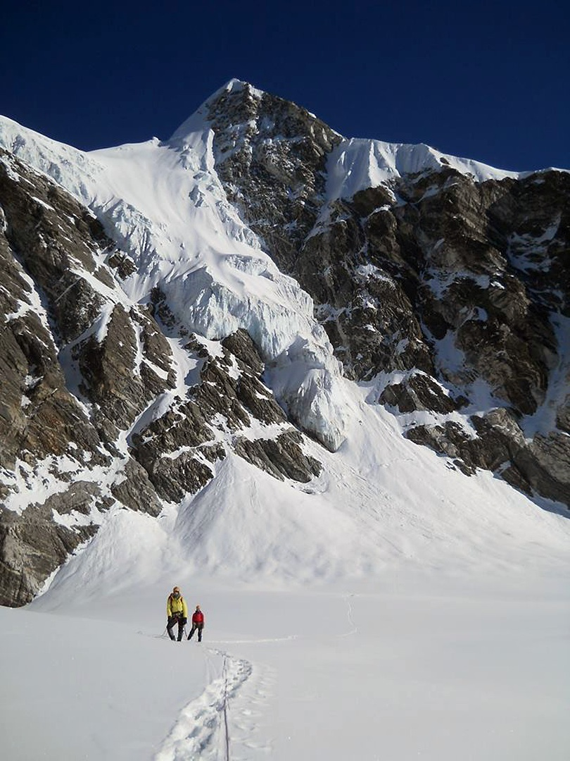 The south face of Langshisa Ri, which the Ukrainians descended from the shoulder left of the summit.