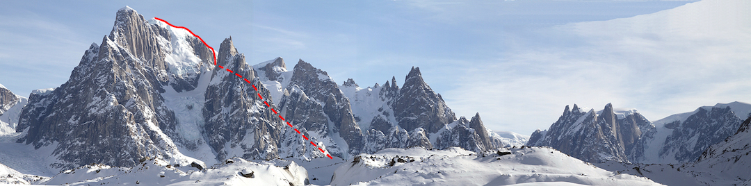 Peak 2,200m and the line of the first ascent in 2014.