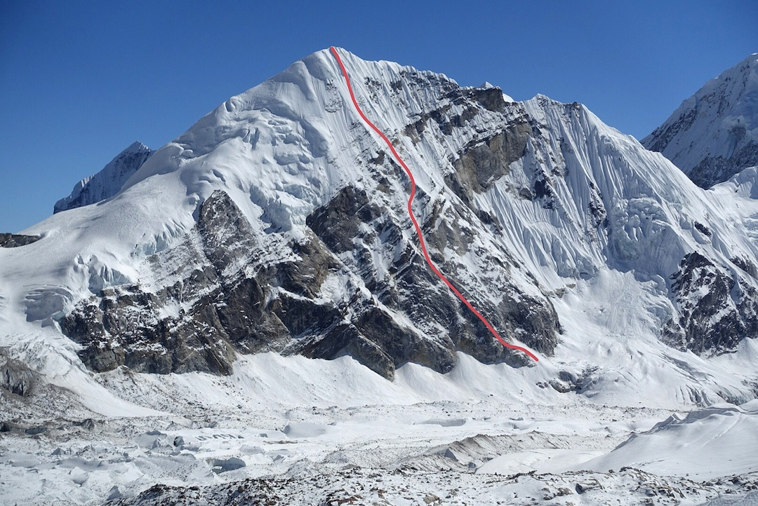 The 2014 route on the west face of Parchamo. The left skyline (north ridge) is the standard ascent route.