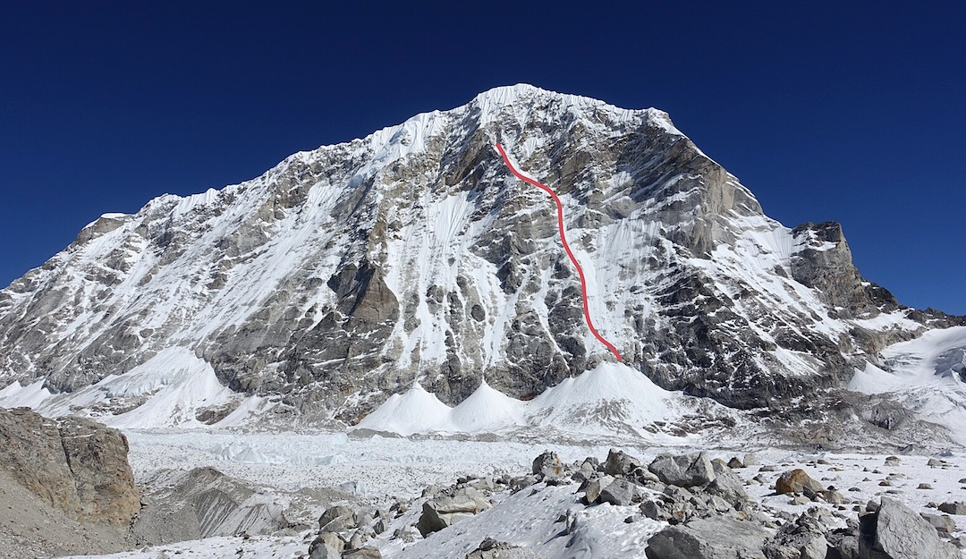 The attempted route on the ca 1,900m unclimbed west face of Tengi Ragi Tau. Both the left skyline (north) ridge and right skyline (south) ridge have been attempted but remain unclimbed.