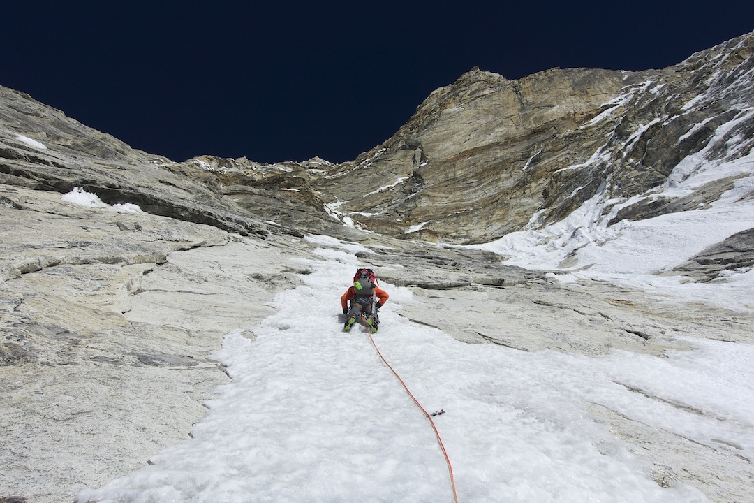 Alan Rousseau above 5,000m on one of the hardest pitches encountered during the attempt on the west face of Tengi Ragi Tau.