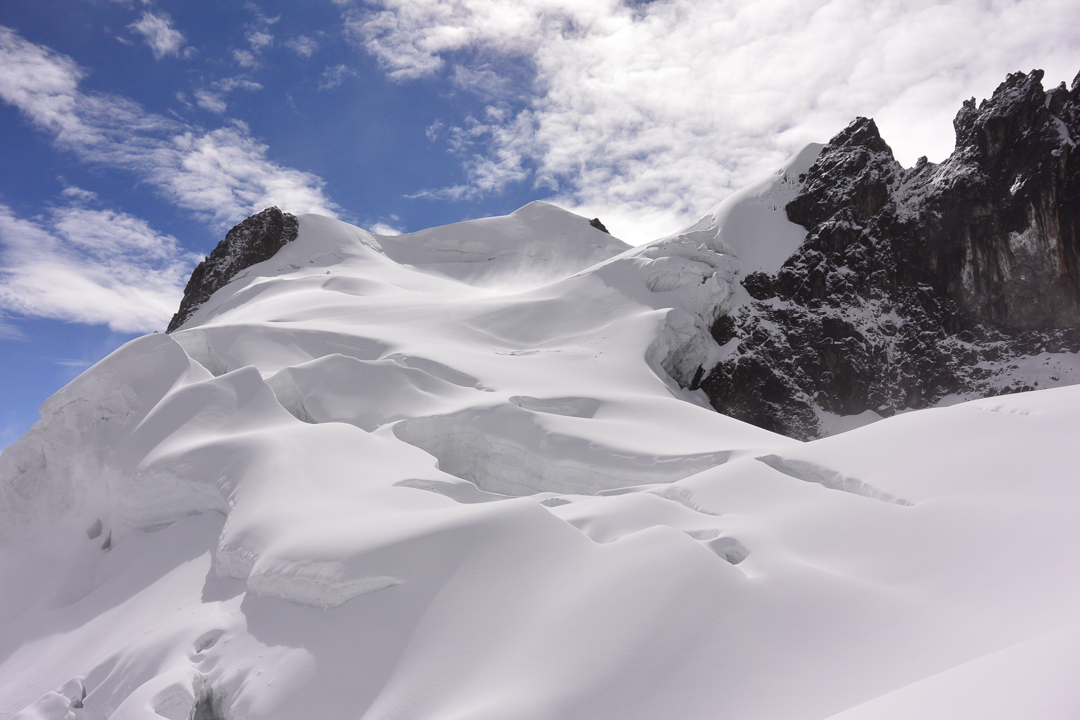 The view to the summit from atop the crux ice wall.