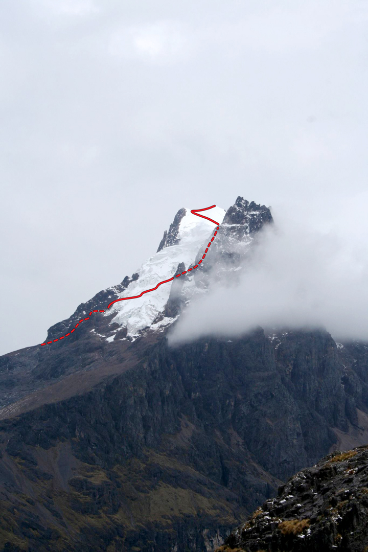 Nevado Sirijuani (5,400m) from Cuncanicocha. The northwest face route climbs the prominent glacier.