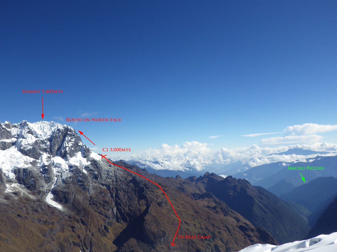An overview of the route to the north summit of Nevados Humantay.