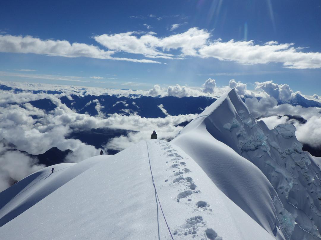 Coming up the summit ridge of Nevados Humantay.