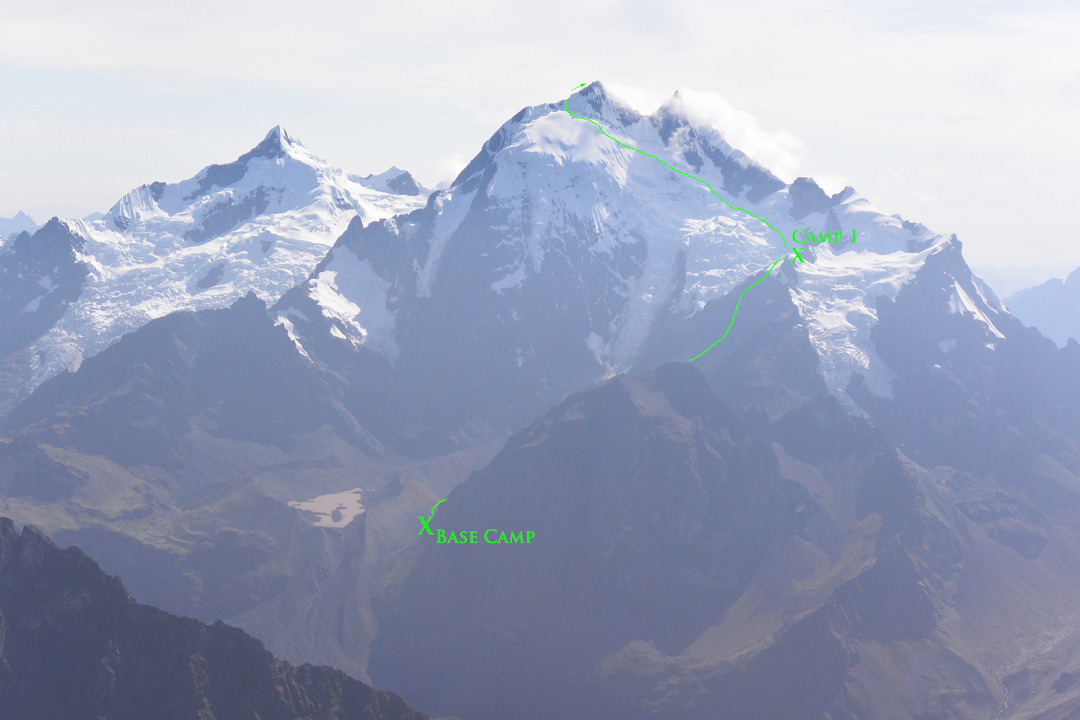An overview of the route up the southwest face of Nevado Sahuasiray (5,818m) with camps marked. Nevado Chainopuerto is picutred left.