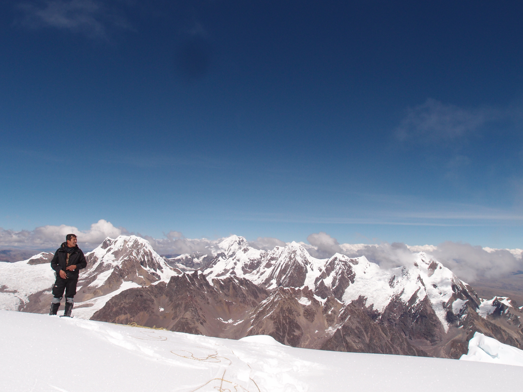 Edwin Espinoza atop the summit of Nevado Colque Cruz.