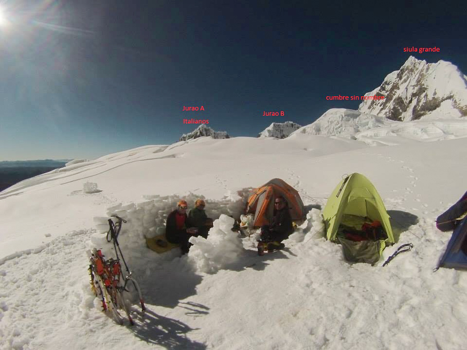 Looking east from base camp on the Yerupaja Glacier. From left to right: Jurau A (5,617m), Jurau B (5,727m), an unnamed glacial highpoint, and Siula Grande (6,344m).