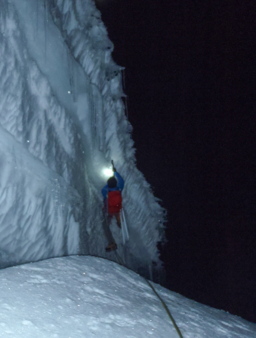 Leading through the steep bergschrund at the base of Jurau B.