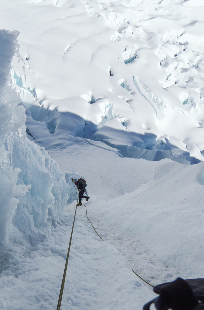 Rappelling a fluting on the northwest face.
