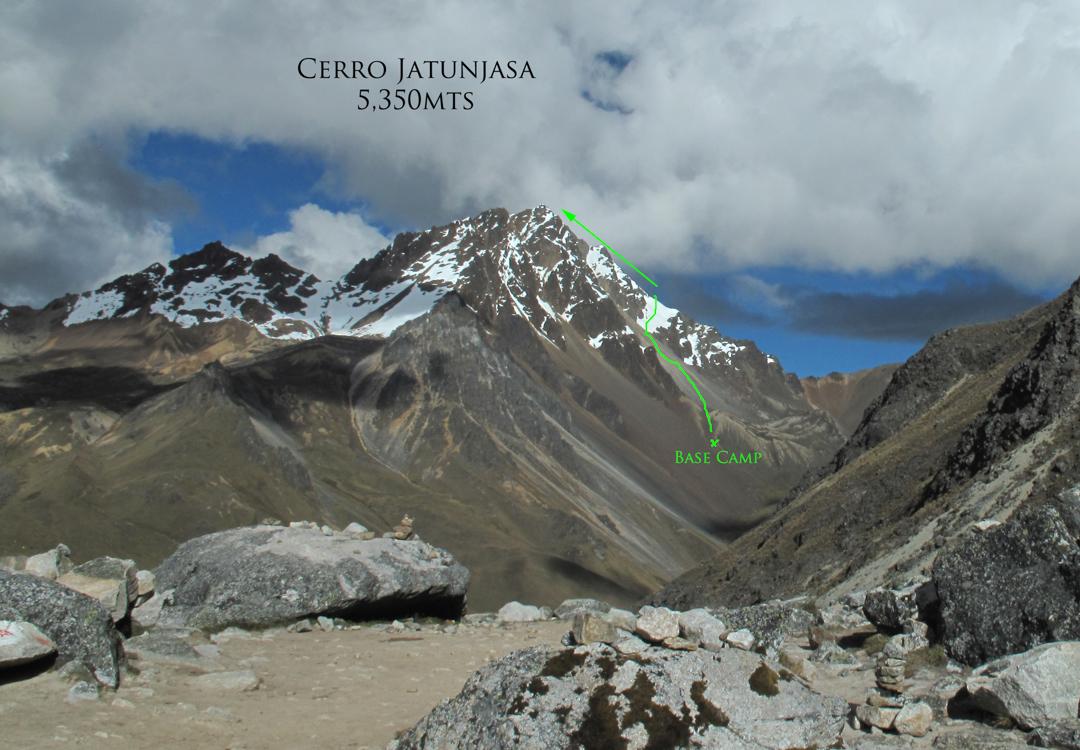 The southwest ridge (350m, PD) of Cerro Jatunjasa (5,350m).