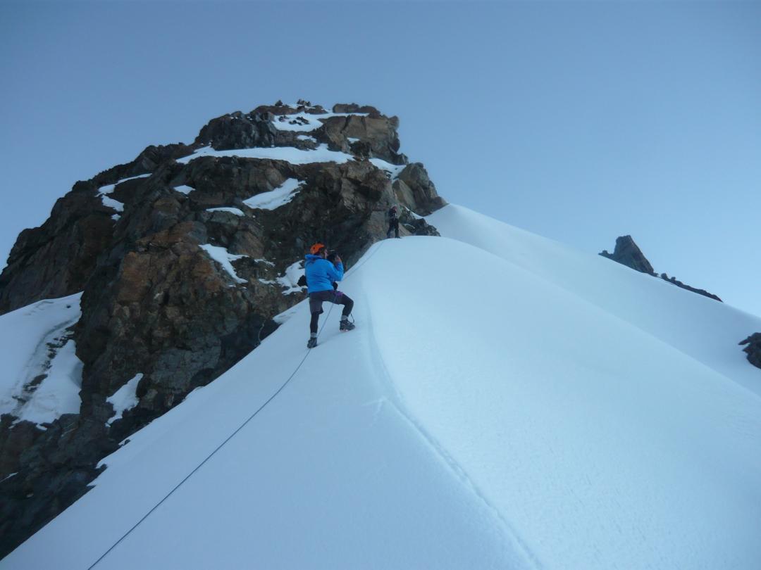 Classic mountaineering terrain atop the glacial crest on the southwest ridge of Cerro Jatunjasa.