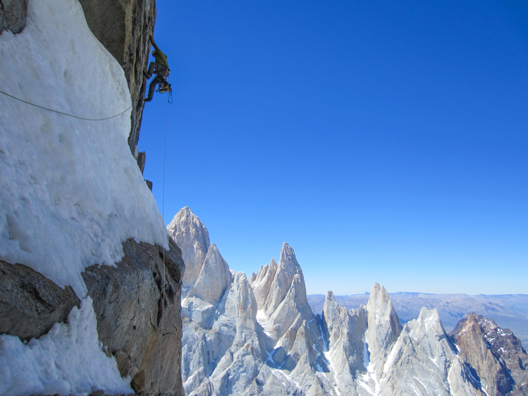 "Marc-André Leclerc leading the second pitch of Aguja Standhardt's south face during day three of the ""reverse"" Torre Traverse."