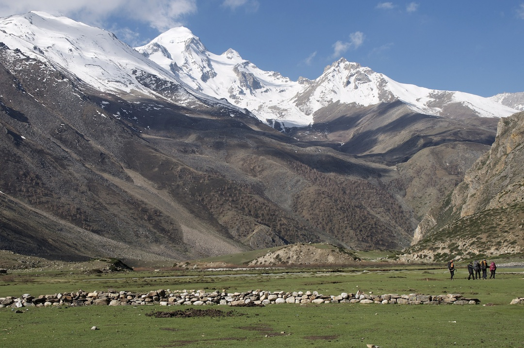 In the valley of the Takchhe Khola (the upper Limi Valley), looking southwest at (left to right) the snowy shoulder of Point 5,490m, Ardang (6,034m), and Peak 5,519m.