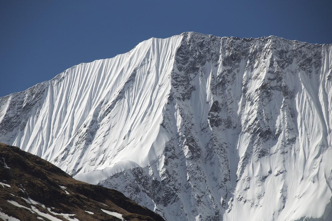 The north-northwest face of unclimbed Peak 5,905m on the long northwest ridge of Kasi Dalpha.