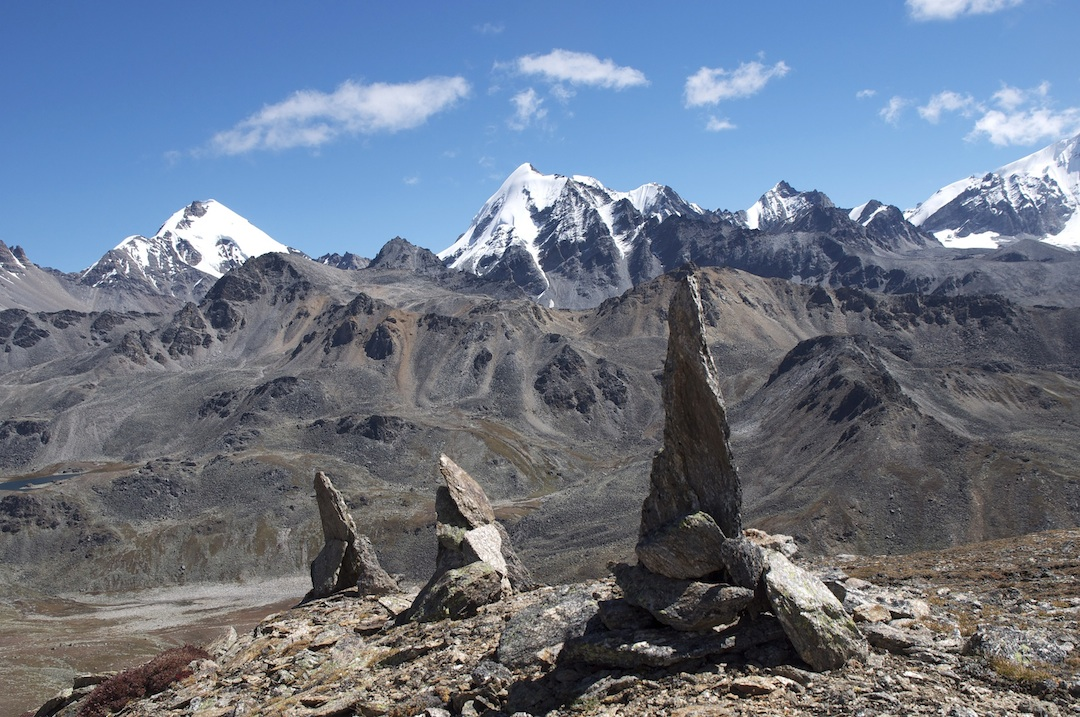 Limi: From the Nyalu La, the view northeast into the Takh Himal shows several unknown 5,000m mountains.