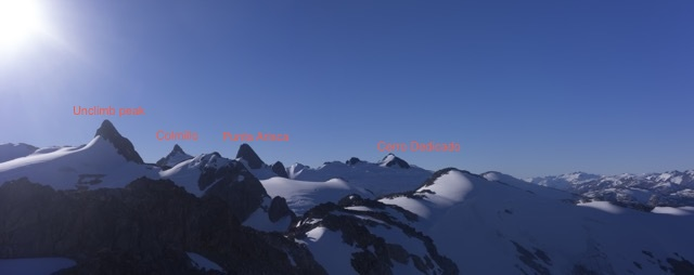 The peaks of the Cordón Colmillo, showing (from left to right) a prominent unclimbed peak, Cerro Colmillo (1,896m), Punta Arisca (1,795m), and Cerro Dedicado (1,800m).