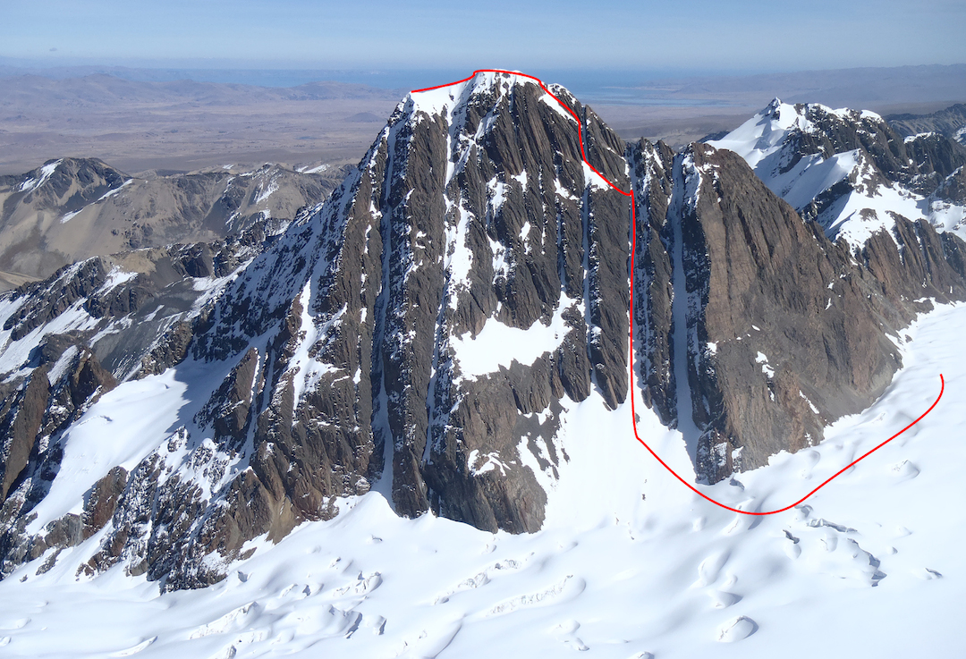 Warawarani from the east showing the route of descent.