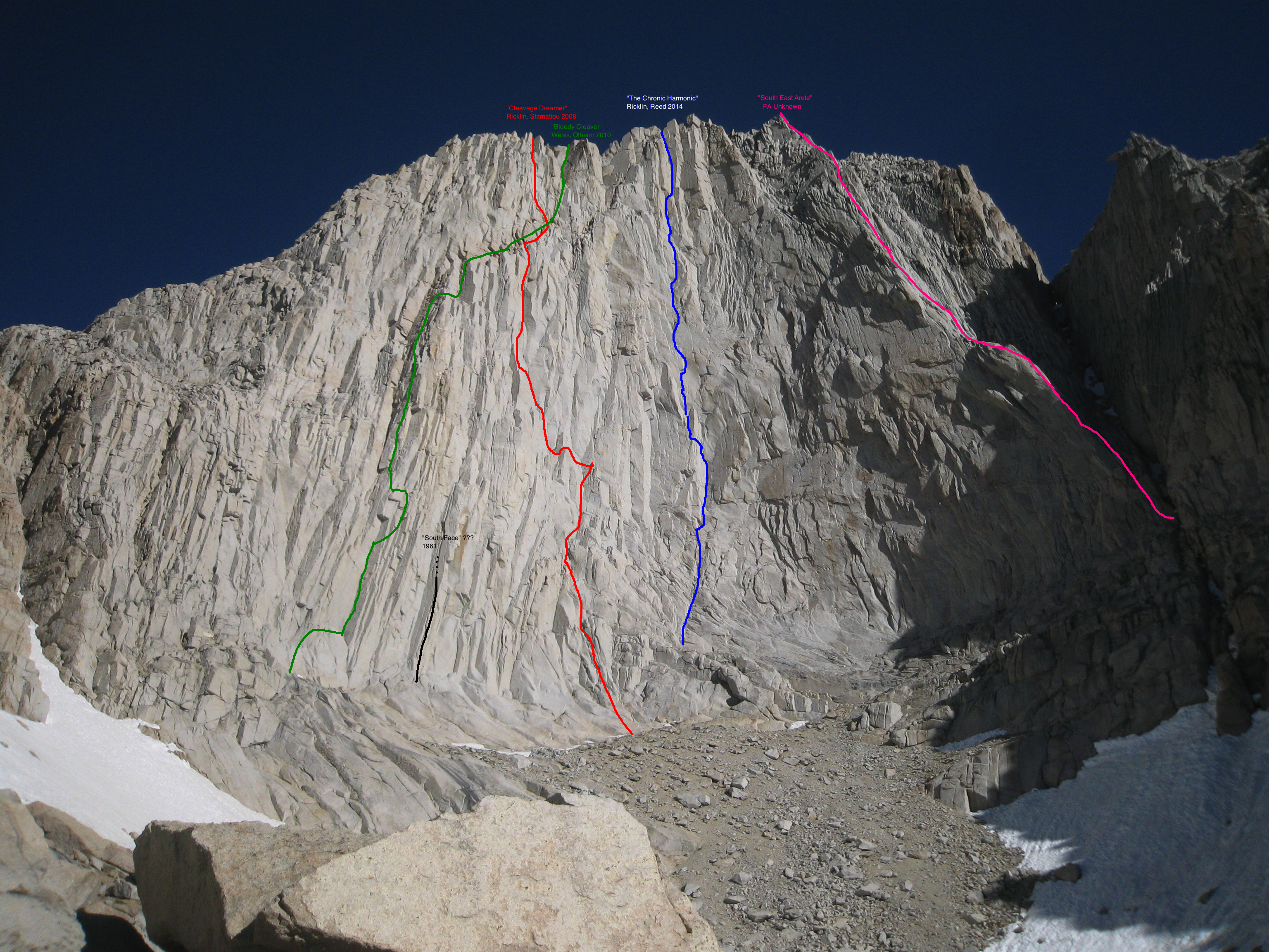 An overview of the south face of the Cleaver. From left to right: Bloody Cleaver (Othemr-Weiss, 2010), South Face (Condon-Killian, 1961; a free ascent of this route was reported in 1980 but may climb variations to the original route), Cleavage Dreamer (Ricklin-Stamatiou, 2008), Chronic Harmonic (Ricklin-Reed, 2014), Southeast Arete (FA Unknwon).