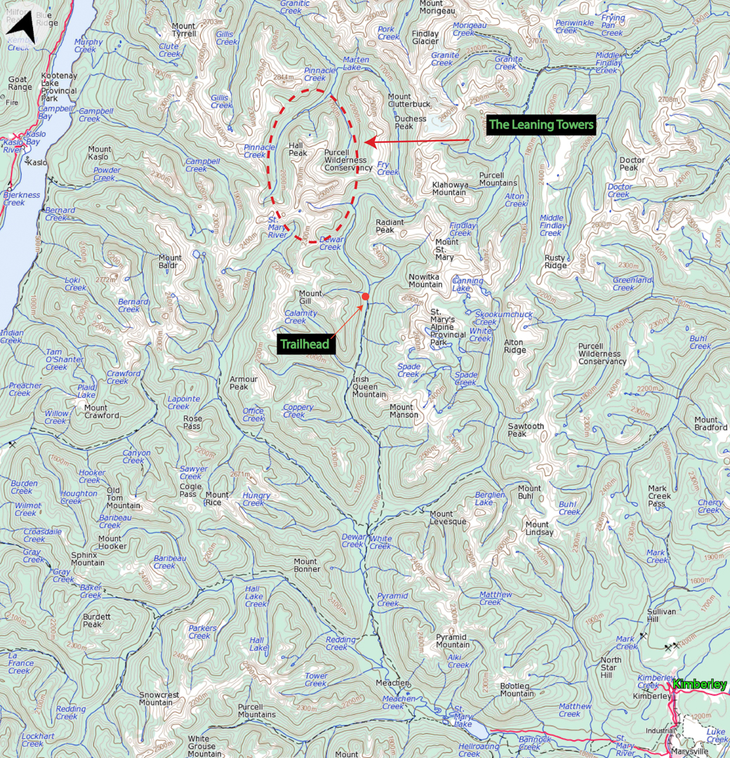 A topo of the area showing the trailhead and Leaning Tower Group.