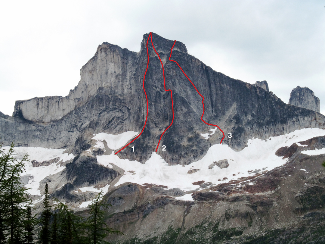 Hall Peak's east face, showing: (1) Direct East Buttress (Morriss-Ramos, 2014). (2) McComb-Myers-Twomey, 1975. This was free climbed with some variations in 2014 and dubbed Quarter Life Crisis (IV 5.10, Bono-Kadatz-Preston). (3) Upper Ramp (Leary-Reimondo, AAJ 2014). Post Credit Cookie (Morriss-Ramos, 2014) climbs the short wall on the far right, topping out on the lower north ridge. To the left of Hall Peak is the Pulpit, and Sharkshead is located out of frame further left. The tops of Block and Wall Tower can be seen far right.